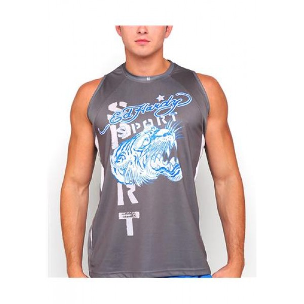 ED Hardy Muscle Shirts Tiger Sport Grey For Men