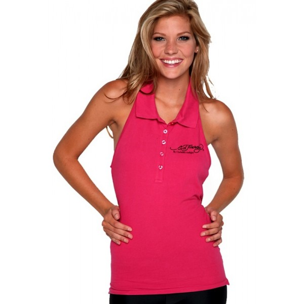 Ed Hardy Polo Vest Rose Red For Women