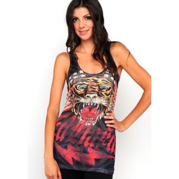 Ed Hardy Vest Big Logo Tiger Black For Women
