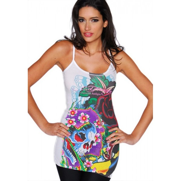 Ed Hardy Vest Bolt Skull White For Women