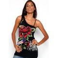 Ed Hardy Vest Diamond Flower Black For Women