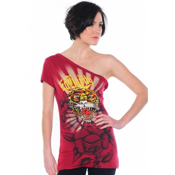 Ed Hardy Vest Gold Logo Tiger Red For Women