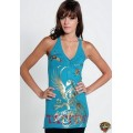 Ed Hardy Vest Gold Phoenix Blue For Women