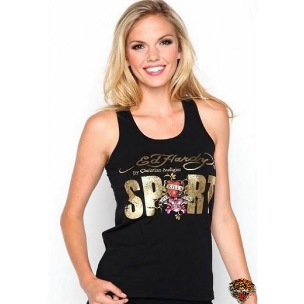 Ed Hardy Vest Gold Sport Black For Women