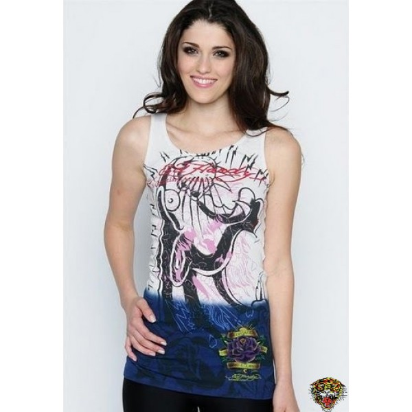 Ed Hardy Vest Leopard White Blue For Women