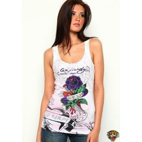 Ed Hardy Vest Love Life Rose White For Women
