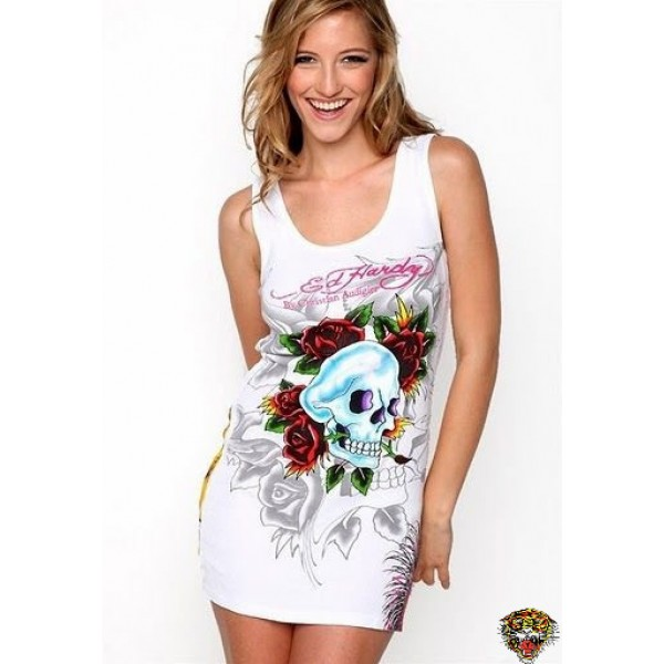 Ed Hardy Vest Punk Skuller White For Women