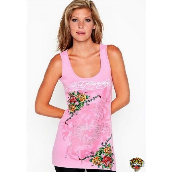 Ed Hardy Vest Roses Cyprinoid Pink For Women