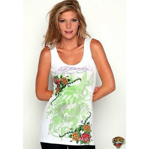 Ed Hardy Vest Roses Cyprinoid White For Women