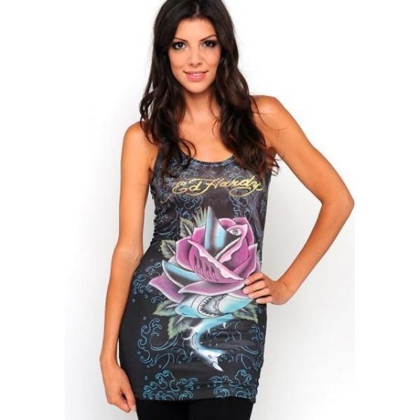 Ed Hardy Vest Shark Rose Black For Women