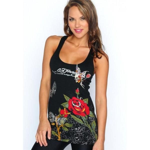 Ed Hardy Vest Tiger Roses Black For Women