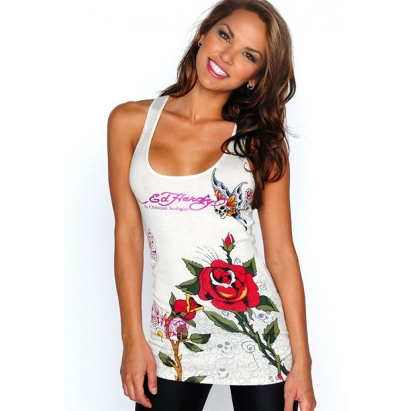 Ed Hardy Vest Tiger Roses White For Women