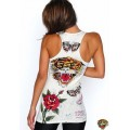 Ed Hardy Vest White Tiger Butterfly Roses For Women