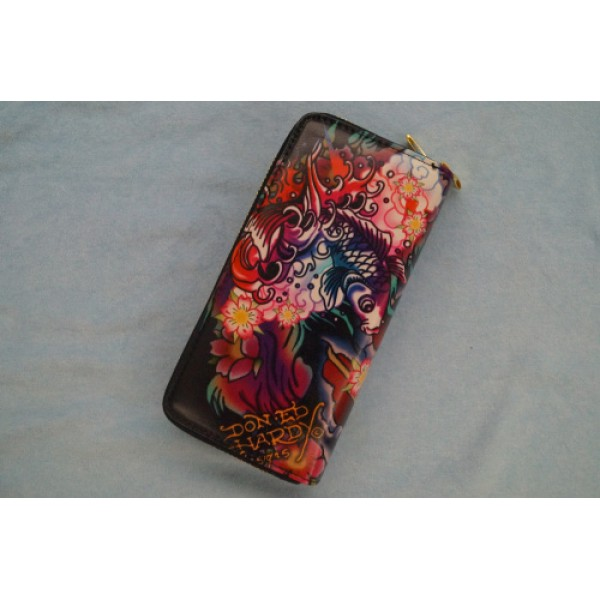 Ed Hardy Wallets Black Lotus Cyprinoid