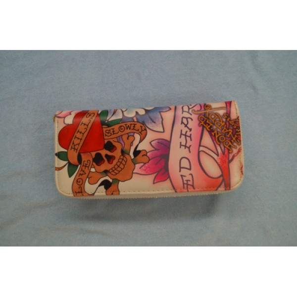 Ed Hardy Wallets Diamond Flowers Ivory