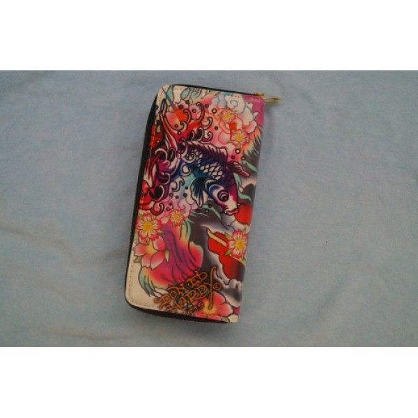 Ed Hardy Wallets Ivory Lotus Cyprinoid
