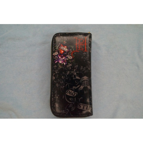 Ed Hardy Wallets Purple Love Kill Slowly Black