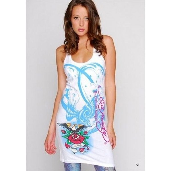 Cheap Ed Hardy Clothes US Womens Dresses White Death