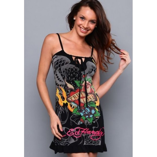 Ed Hardy Clothing Womens Dresses Eagle Cobra Black