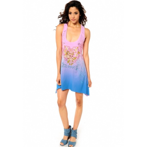 Ed Hardy Stores Womens Dresses Pink Blue